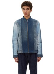 Schmidttakahashi Quilted Denim Patchwork Bomber Jacket Blue