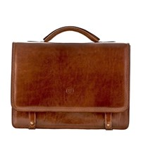 Maxwell Scott Bags Luxury Italian Leather Men's Business Satchel Briefcase Battista Classic Chestnut Tan Brown
