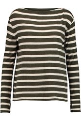 Enza Costa Striped Cotton And Cashmere Blend Top Green