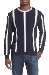 Lacoste Men's Striped Crewneck Sweater Navy Blue Asphalt Chine White