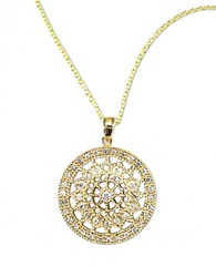 Effy D Oro 14 Kt Gold Diamond Pave Medallion Pendant Necklace 14K Yellow Gold