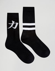 Asos Sports Style Socks With Text Design 2 Pack Monochrome Black