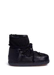 Inuikii 'Fashion' Mixed Knit Sheepskin Shearling Moon Boots Black