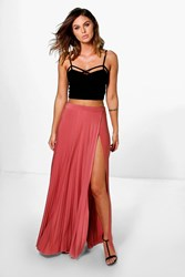 Boohoo Wrap Front Pleated Slinky Maxi Skirt Antique Rose