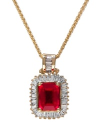 Effy Collection Gemma By Effy Ruby 1 9 10 Ct. T.W. And Diamond 1 2 Ct. T.W. Baguette Pendant In 14K Gold