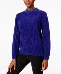 Alfred Dunner Beaded Neck Chenille Sweater Royal