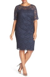 Xscape Evenings Plus Size Women's Xscape Shimmer Lace Side Ruched Cocktail Dress
