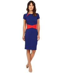 Nue By Shani Color Blocking Knit Dress With Insets At Neckline And Waist Red Indigo Women's Dress Multi