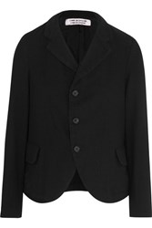 Comme Des Garcons Cropped Wool Flannel Blazer Black
