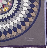 Penrose London Kaleidoscope Print Pocket Square Grey