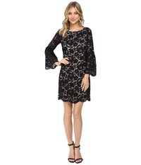 Vince Camuto Lace Shift Dress W Flounce Sleeve And Scalloped Hem Black Women's Dress