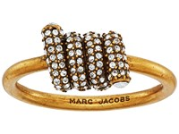 Marc Jacobs Pave Twisted Ring Crystal Antique Gold Ring Clear
