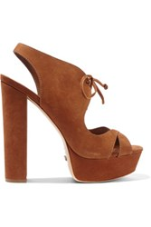 Schutz Jorie Lace Up Nubuck Sandals Light Brown