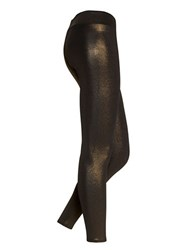Hue Metallic Twill Leggings Black Gold