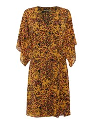 Biba Leopard Printed Wrap Dress Multi Coloured