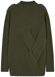 Rag And Bone Dale Olive Ribbed Merino Wool Jumper Khaki