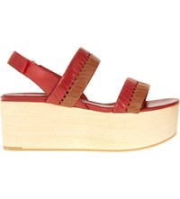 Whistles Eden Woven Leather Wooden Flatform Sandals Multi Coloured
