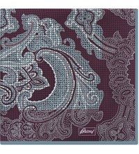 Brioni Paisley Houndstooth Silk Pocket Square Burgundy