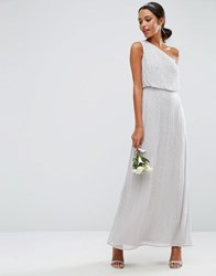 Asos Wedding Embellished One Shoulder Maxi Dress Grey
