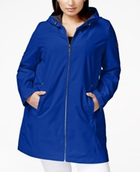 Calvin Klein Plus Size Hooded Raincoat Royal