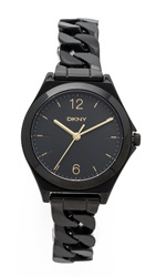 Dkny Parsons Three Hand Stainless Steel Watch Black