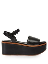 Robert Clergerie Flane Leather Flatform Sandals Black