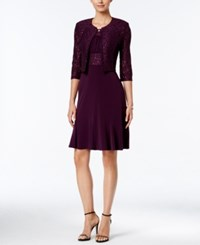 Jessica Howard Sequined Floral Lace Dress And Jacket Plum