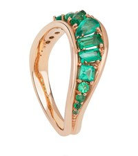 Fernando Jorge Stream Rose Gold And Emerald Wave Ring Female
