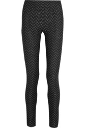 Missoni Metallic Crochet Knit Skinny Pants Black