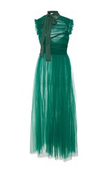 Rochas Sleeveless Draped Silk Chiffon Midi Dress Green