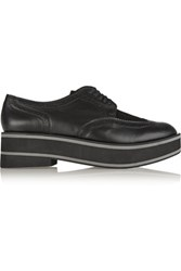 Robert Clergerie Irvina Calf Hair Paneled Leather Platform Brogues Black