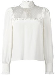 Red Valentino Turtleneck Sheer Panel Blouse Nude Neutrals