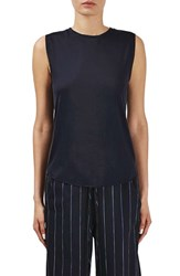 Topshop Women's Boutique Raw Edge Jersey Tank Navy Blue Multi