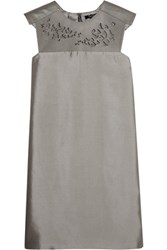 Raoul Whistler Laser Cut Leather And Silk Blend Satin Mini Dress Gray
