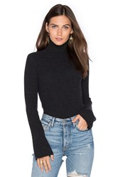 Autumn Cashmere X Revolve Ribbed Turtleneck Bell Sleeve Sweater Charcoal