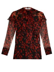 Givenchy Floral Print Ruffled Chiffon Blouse Red Multi