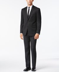 Kenneth Cole New York Performance Wear Solid Black Slim Fit Suit