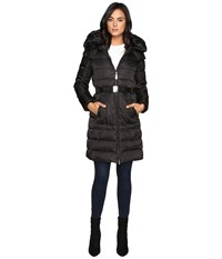Vince Camuto Belted Down W Removable Hood And Faux Fur Collar J8691 Black Women's Coat
