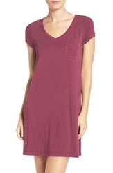 Dkny Women's 'City Essentials' V Neck Sleep Shirt Red Heather