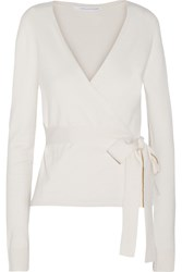 Diane Von Furstenberg Ballerina Silk Blend Wrap Sweater White