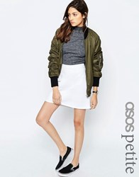 Asos Petite Denim A Line Mini Skirt In White White