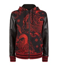 Just Cavalli Leather Sleeve Floral Hoodie Male Red