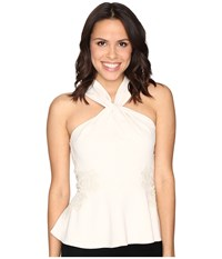 Rebecca Taylor Crepe And Lace Top Cream Women's Clothing Beige