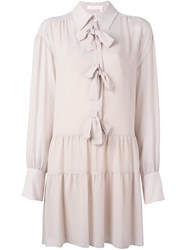 See By Chloe Bow Detail Shirt Dress Pink Purple