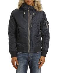 Schott Nyc Fur Trimmed Hood Navy Bomber Jacket