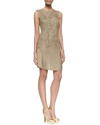 Ralph Lauren Black Label Sleeveless Crocheted Sheath Dress Dark Sand