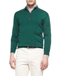 Peter Millar Leather Placket Quarter Zip Pullover Green