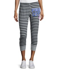Freecity Strike Sounds Cropped Jogger Pants Black Gray Stripe Black Pattern