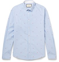 Gucci Slim Fit Penny Collar Printed Gingham Cotton Shirt Blue