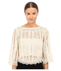 Red Valentino Point D'esprit Macrame Ribbons Blouse Ivory Women's Blouse White